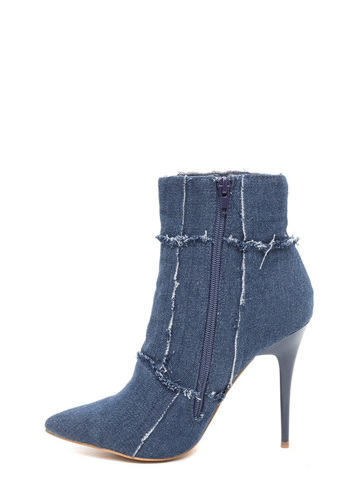 Fray It Cool Pointy Denim Booties BLUE