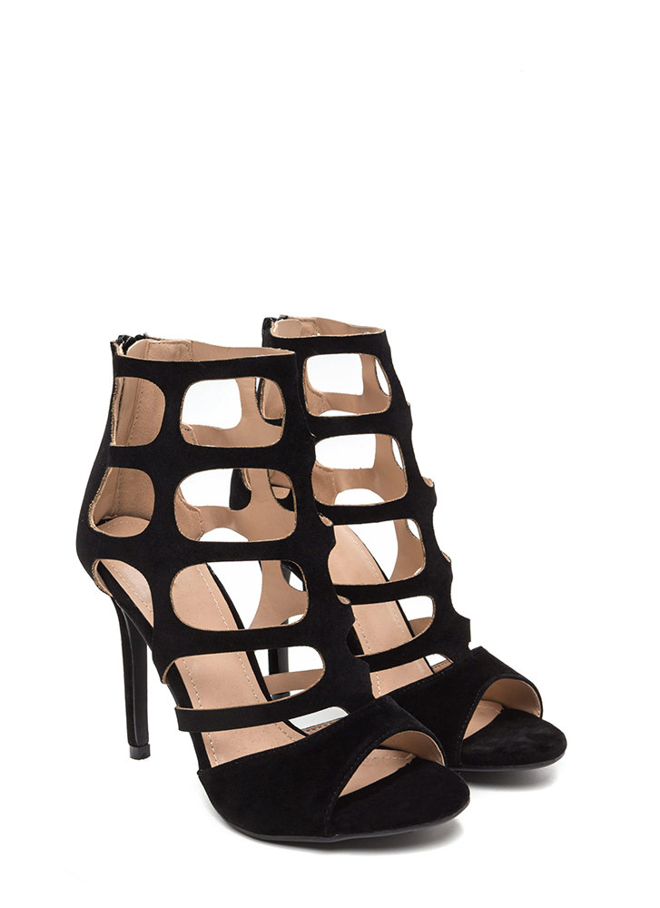 Cage Match Faux Suede Stiletto Heels BLACK