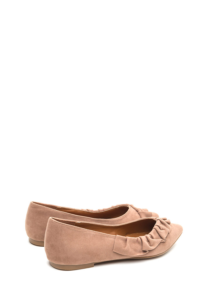 Regal Ruffle Pointy Faux Suede Flats TAUPE (Final Sale)