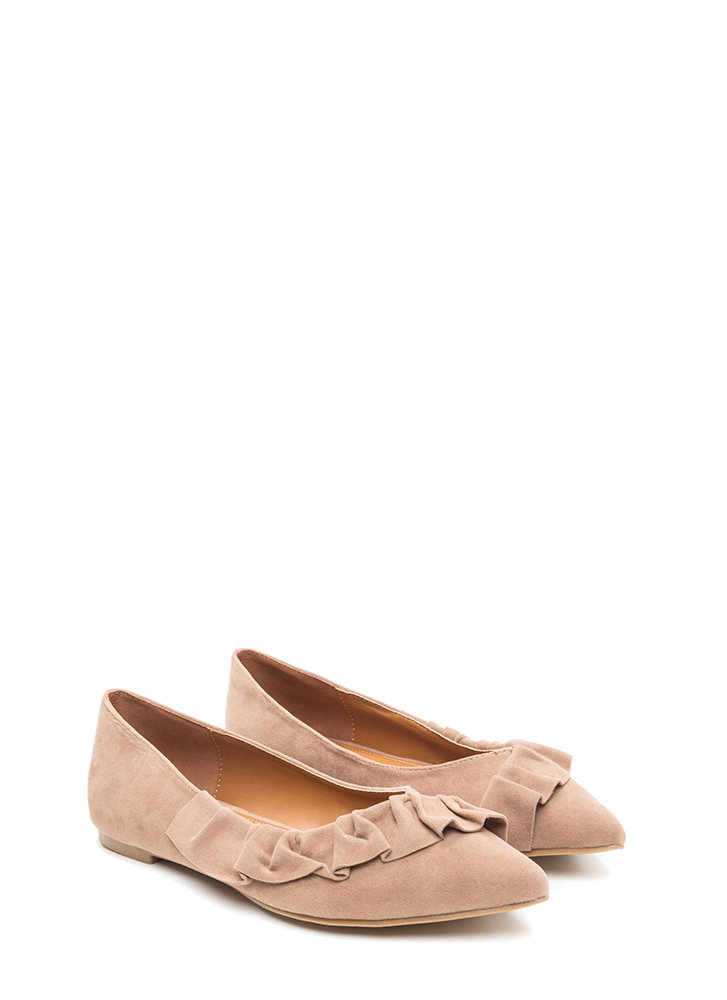 Regal Ruffle Pointy Faux Suede Flats TAUPE