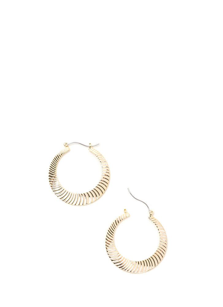 Play Both Sides Ridged Hoop Earrings GOLD (Final Sale)