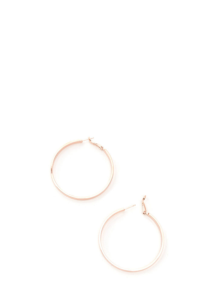 In Nothing Flat Band Hoop Earrings ROSEGOLD