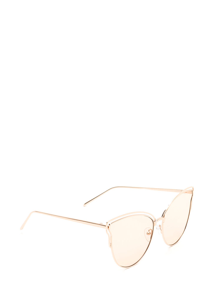 Sunny Disposition Cut-Out Sunglasses PEACH