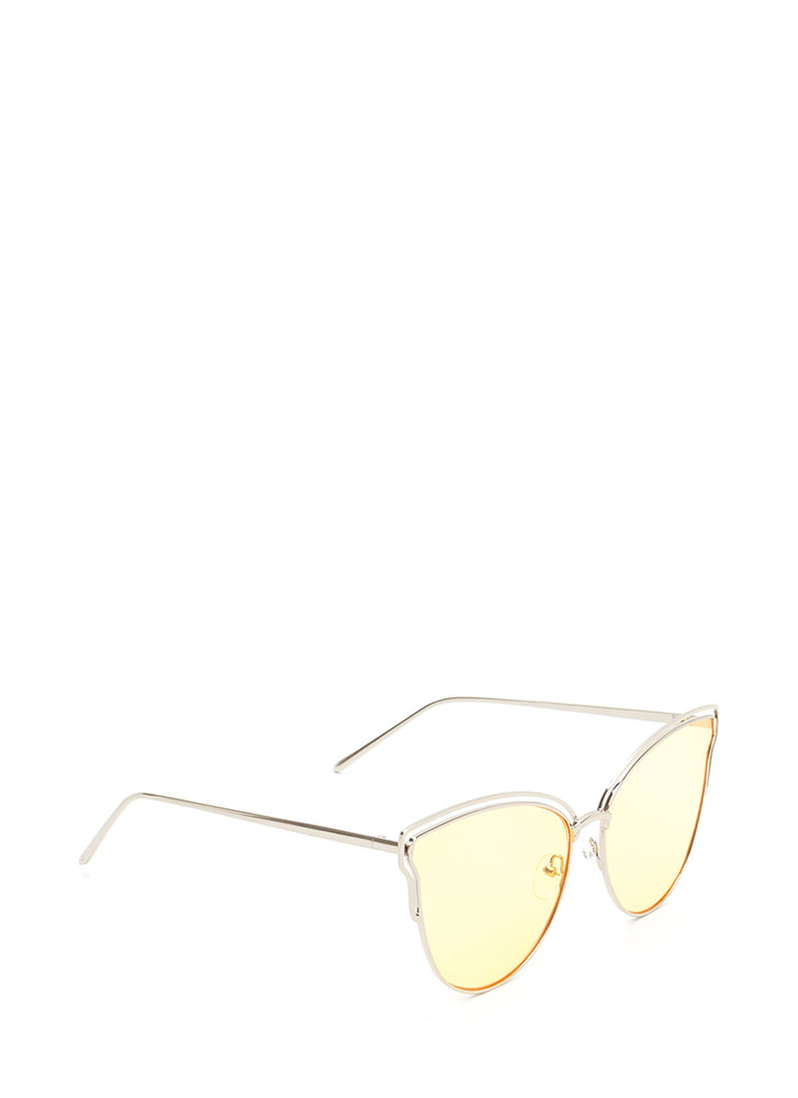 Sunny Disposition Cut-Out Sunglasses YELLOW
