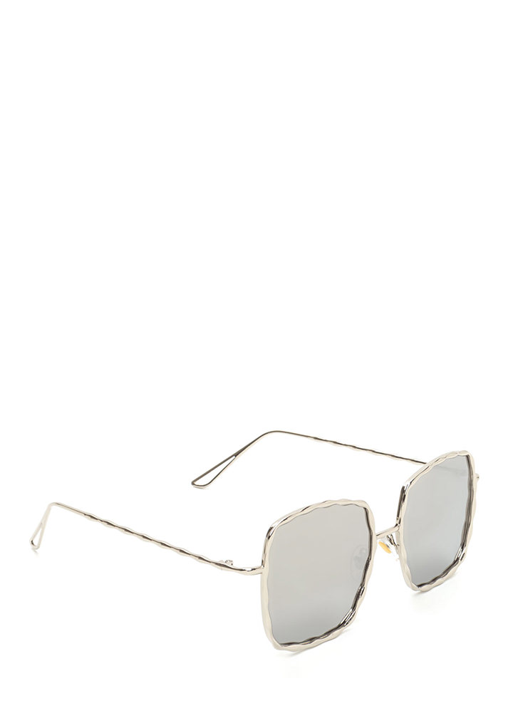 Squared Away Textured Sunglasses SILVER (Final Sale)