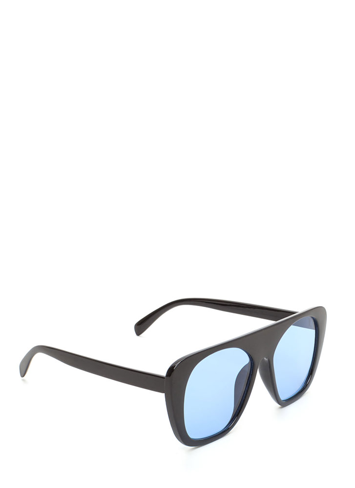 Cool Cat Tinted Retro Sunglasses BLUE