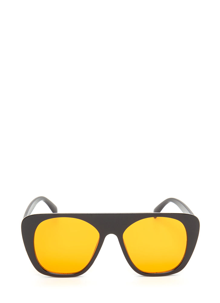 Cool Cat Tinted Retro Sunglasses ORANGE