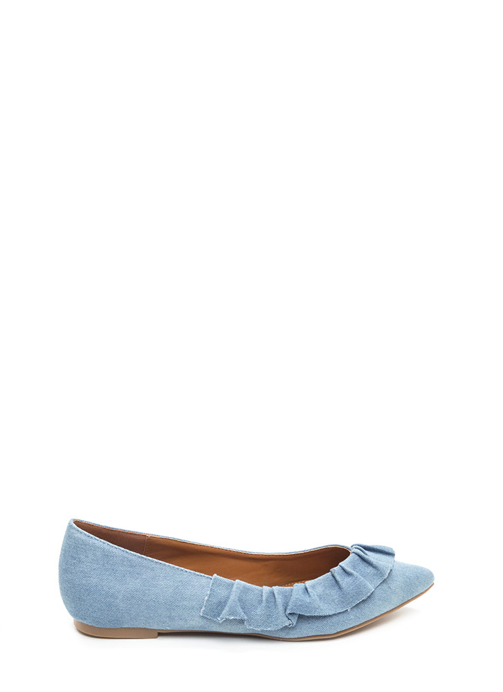 Regal Ruffle Pointy Denim Flats BLUE