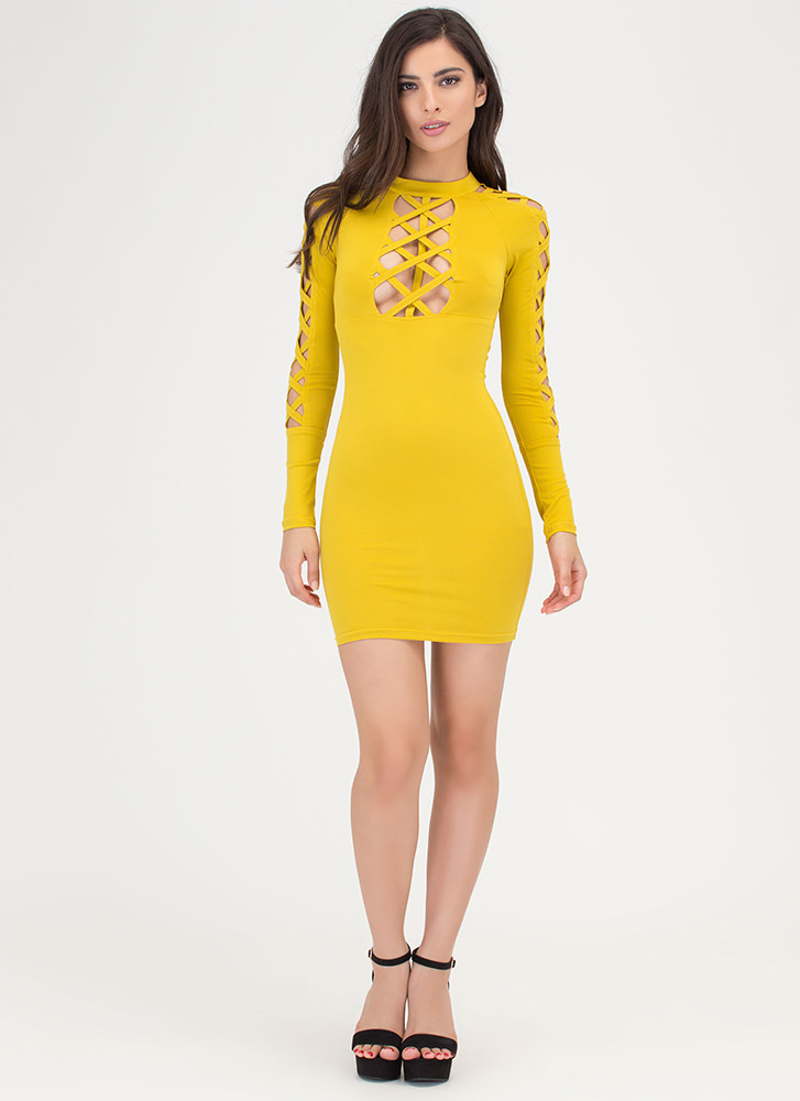 X Woman Strappy Cut-Out Caged Dress MUSTARD