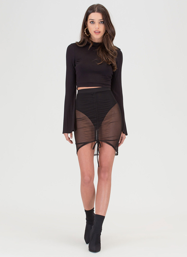 Bare With Me Sheer Ruched Skirt BLACK