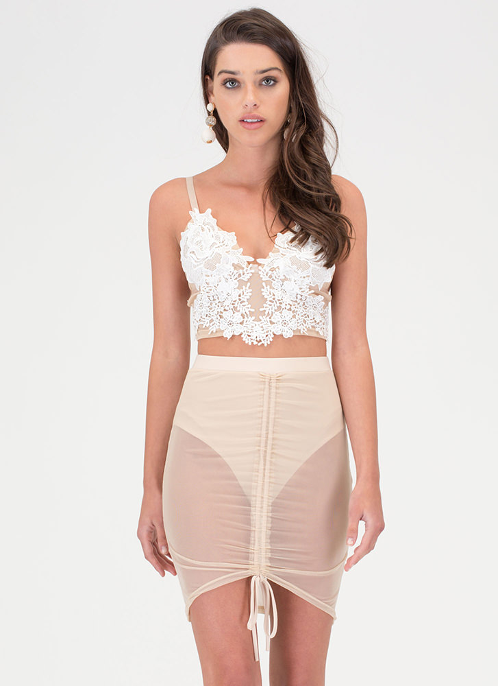 Bare With Me Sheer Ruched Skirt NUDE