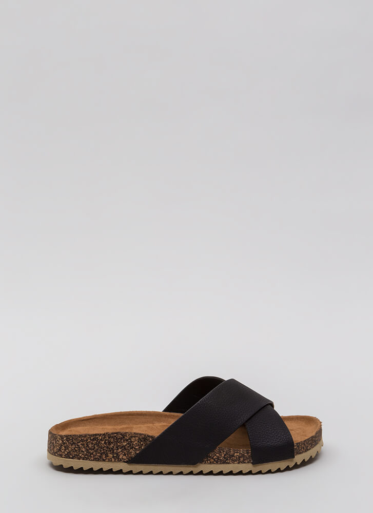 X-Press Yourself Faux Leather Sandals BLACK