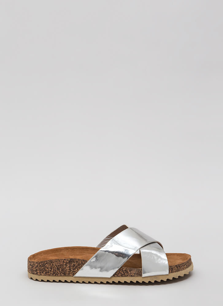 X-Press Yourself Metallic Slide Sandals SILVER