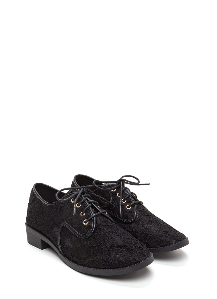 Lost In Lace Chunky Oxford Flats BLACK