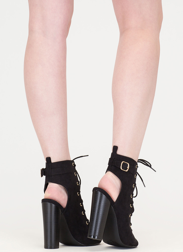 High Power Chunky Laced Faux Suede Heels BLACK