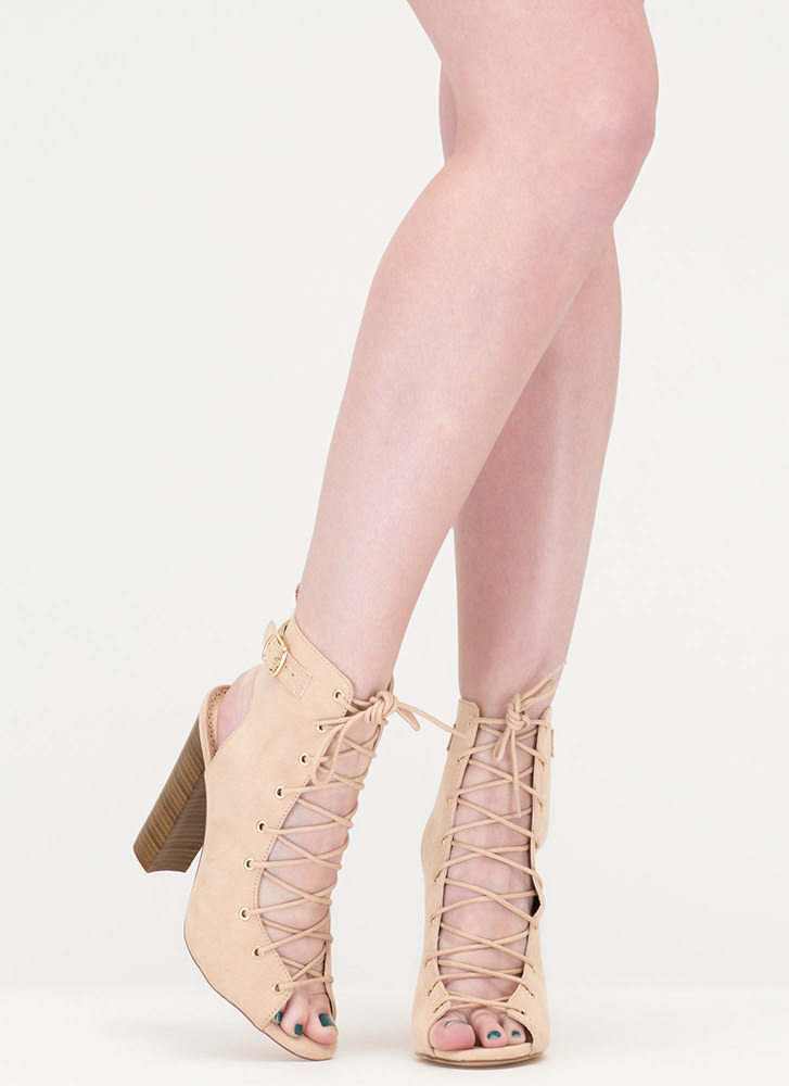 High Power Chunky Laced Faux Suede Heels NUDE