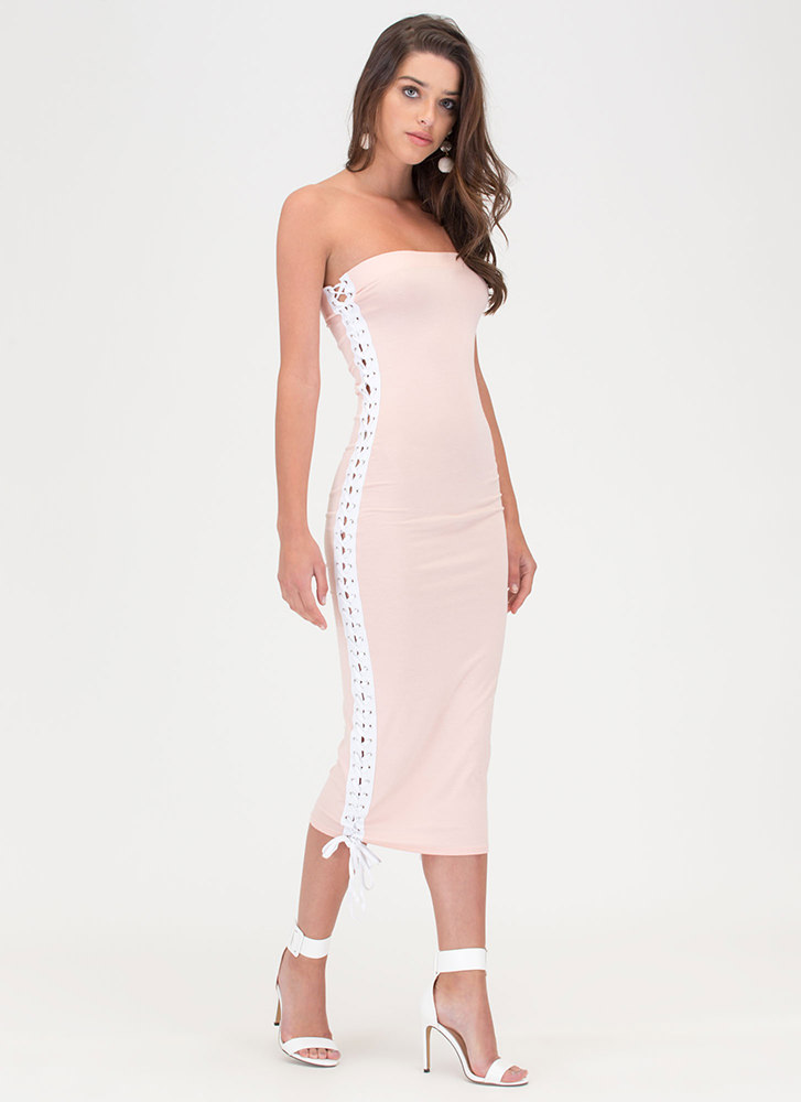 Laced The Game Slit Maxi Dress PINK