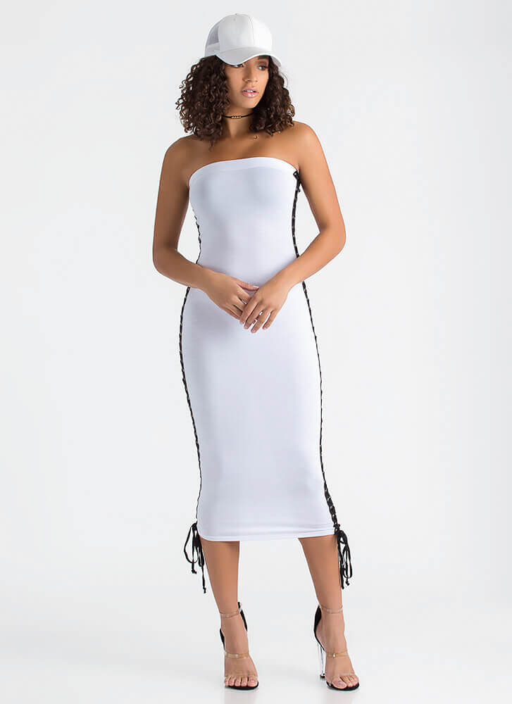 Laced The Game Slit Maxi Dress WHITE