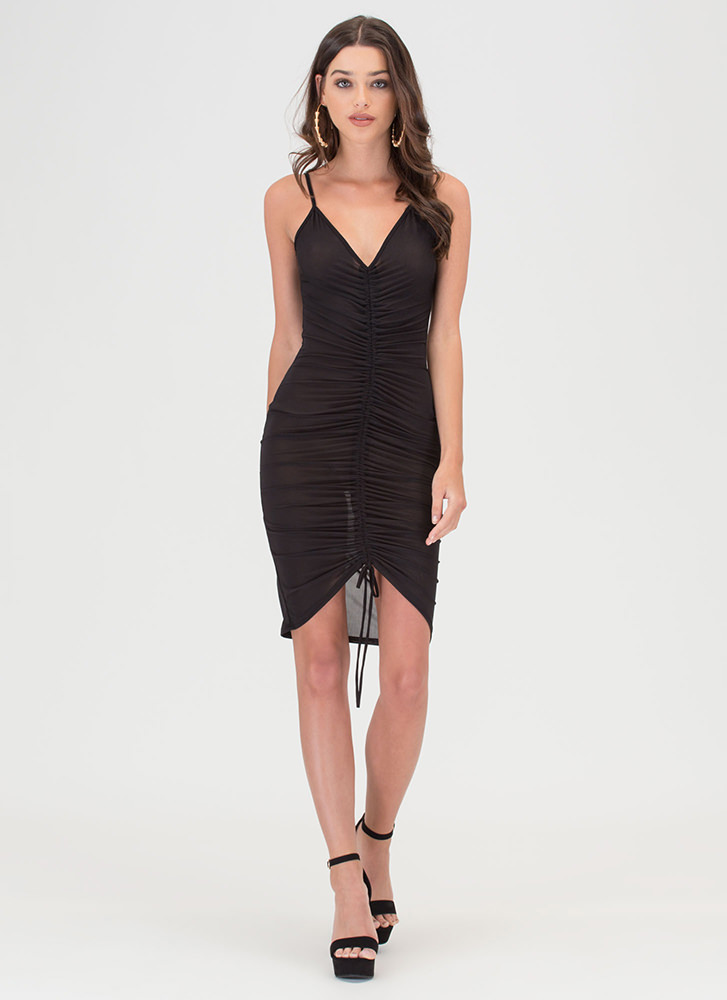 In A Ruche Sheer Mesh Bodycon Dress BLACK