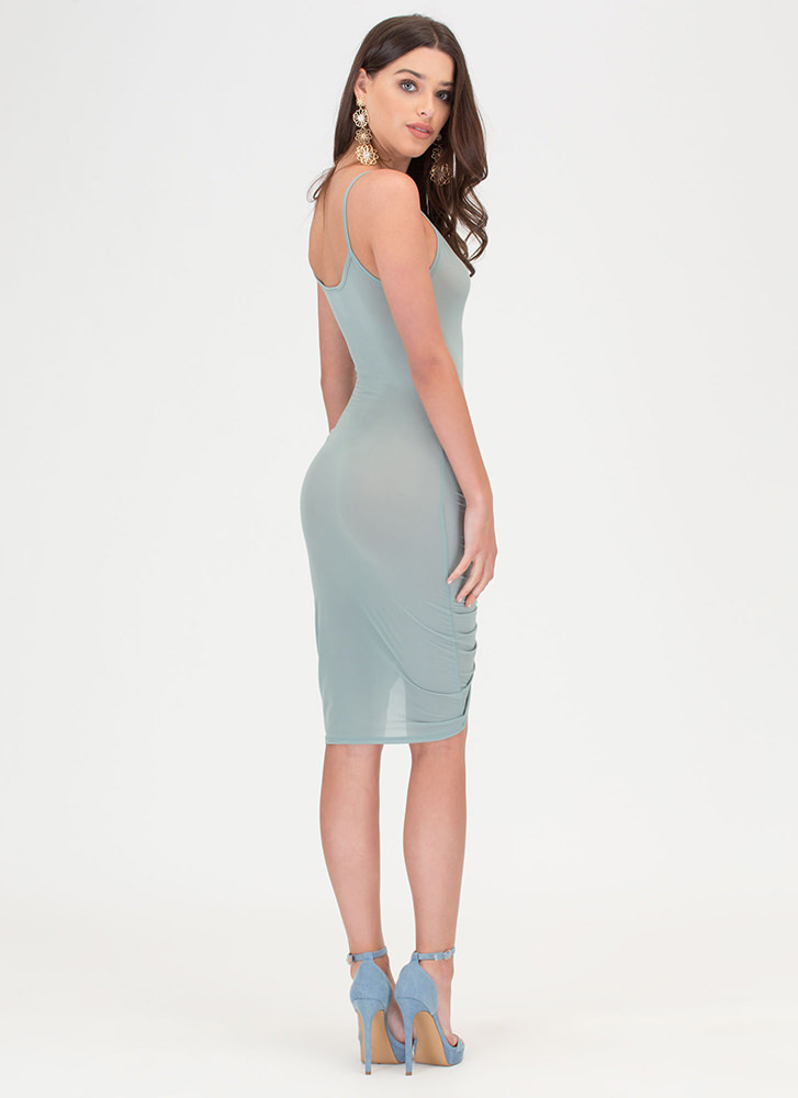 In A Ruche Sheer Mesh Bodycon Dress SAGE