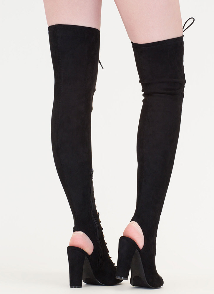 Style Mastermind Chunky Thigh-High Boots BLACK