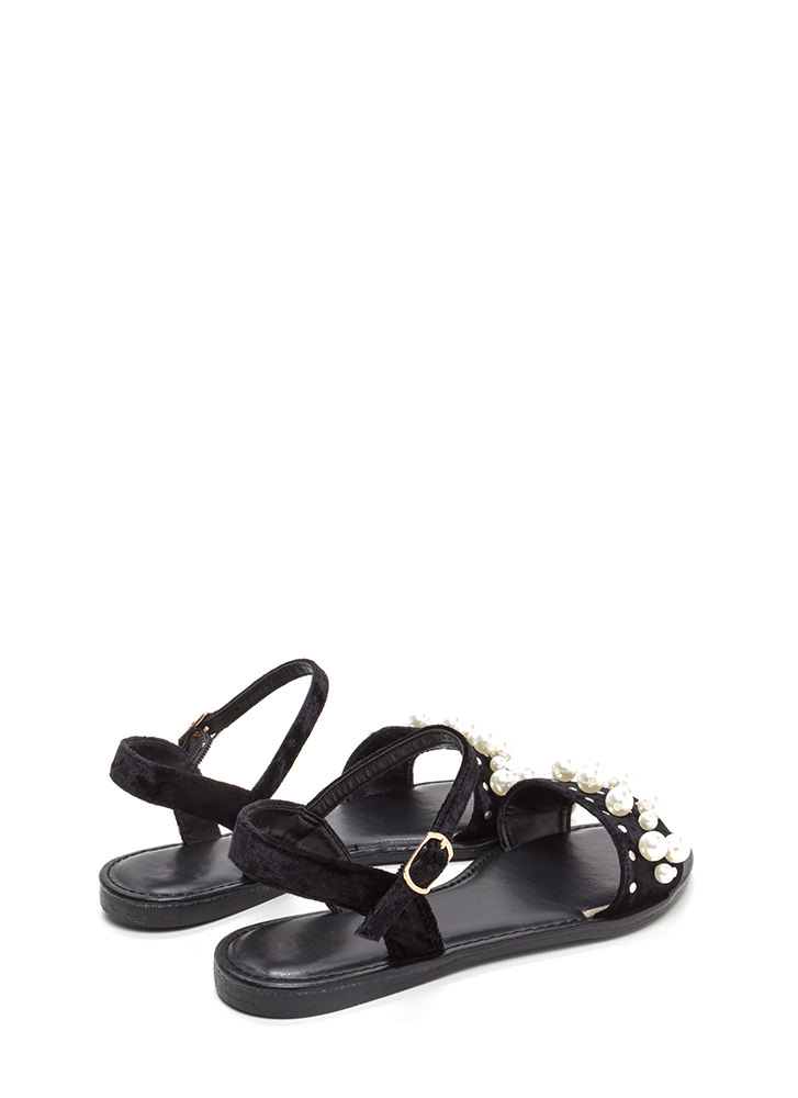 Plush Hour Velvet Faux Pearl Sandals BLACK