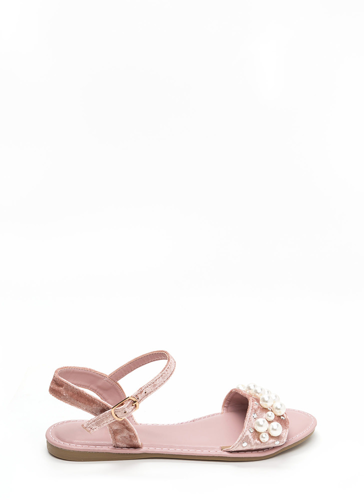 Plush Hour Velvet Faux Pearl Sandals MAUVE