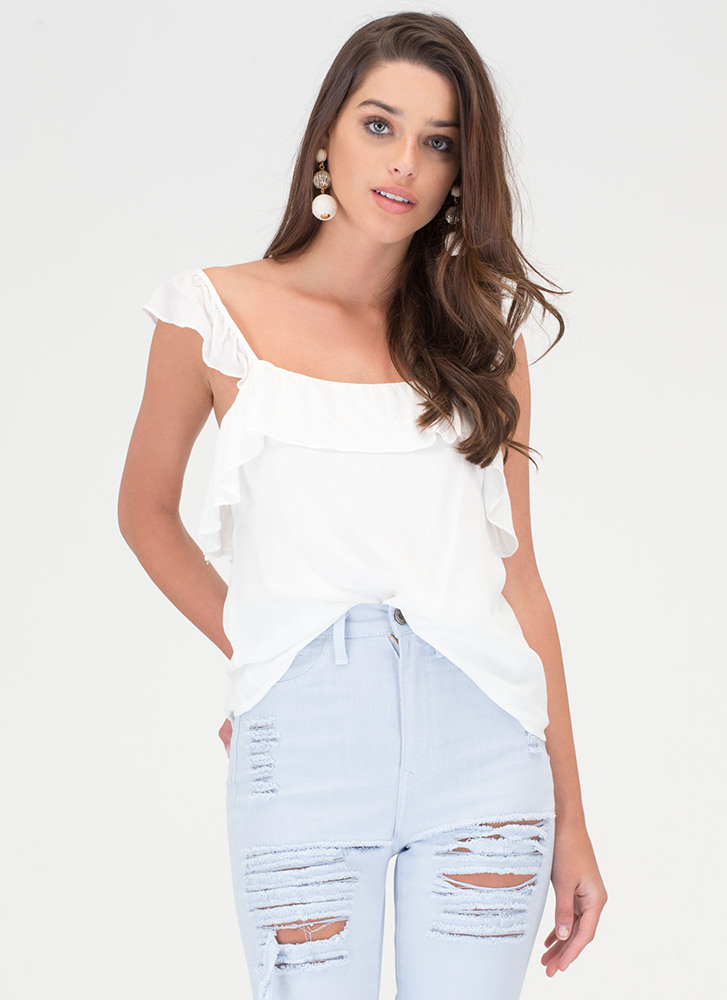 Sweet Memory Ruffled Tank Top WHITE