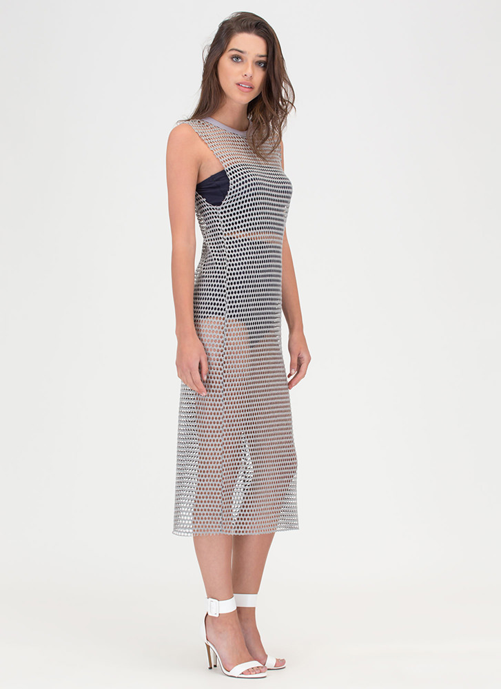 Holey Smokes Sheer Midi Dress GREY