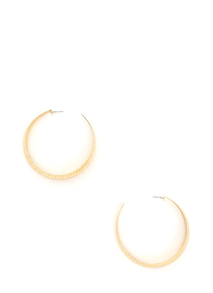 By Design Brushed Hoop Earrings GOLD