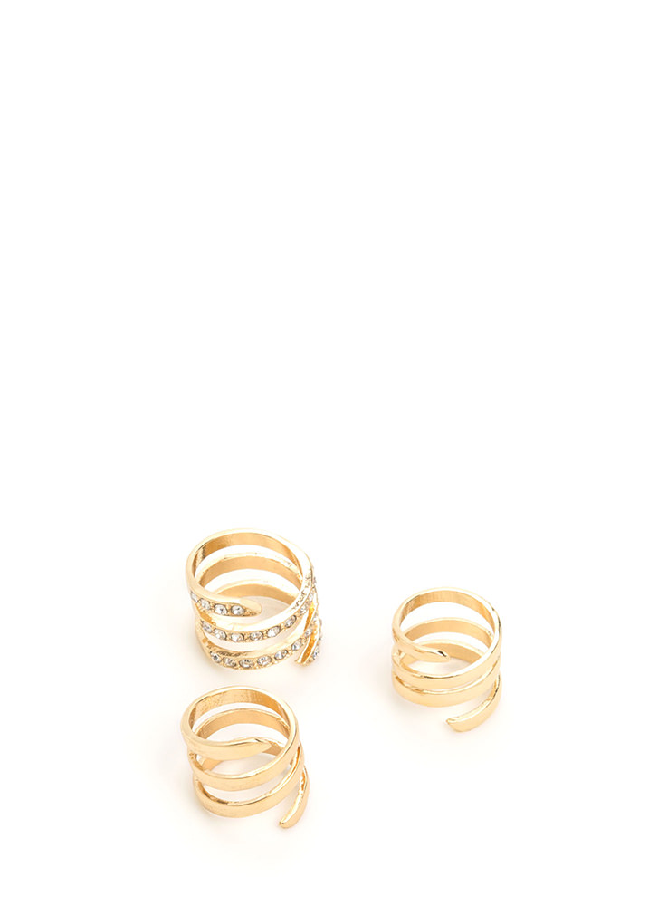 Three To Go Sparkly Caged Ring Set GOLD