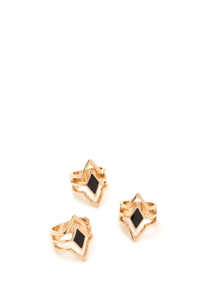 Triple Threat Caged Ring Set GOLDBLACK