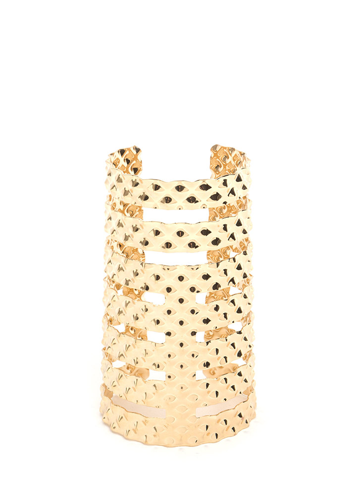 Fan Fave Textured Caged Cuff Bracelet GOLD