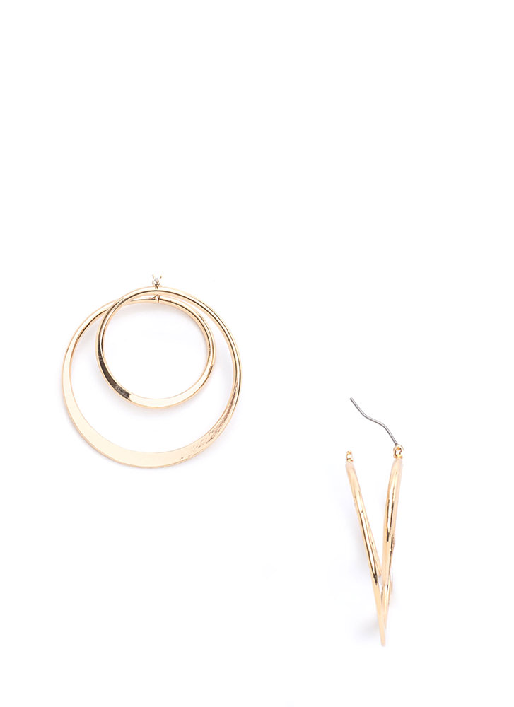 Another Dimension Double Loop Earrings GOLD