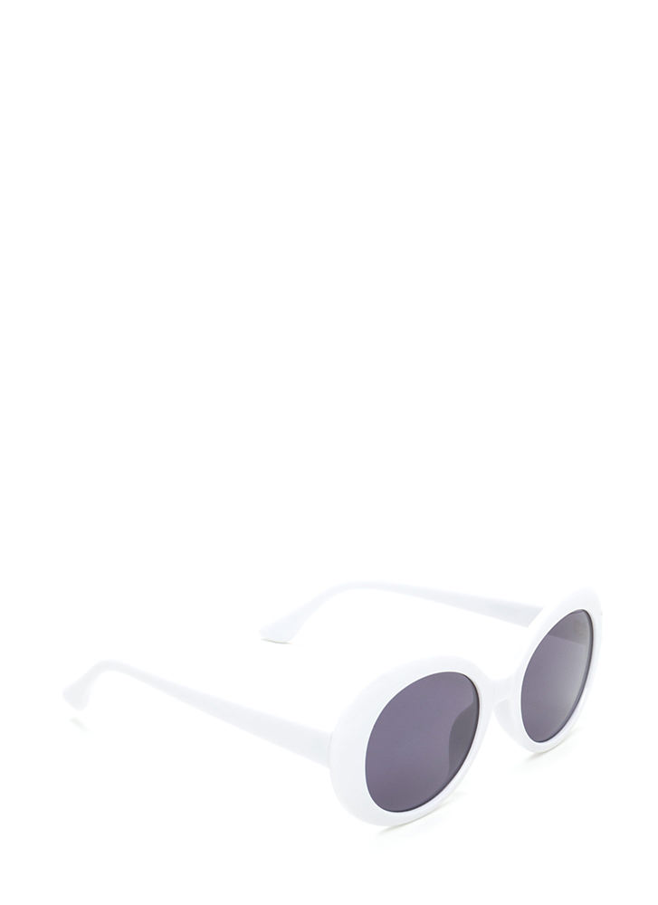 Mod Girl Rounded Sunglasses WHITE