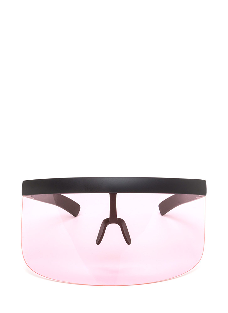 Shield Your Fate Visor Sunglasses PINK