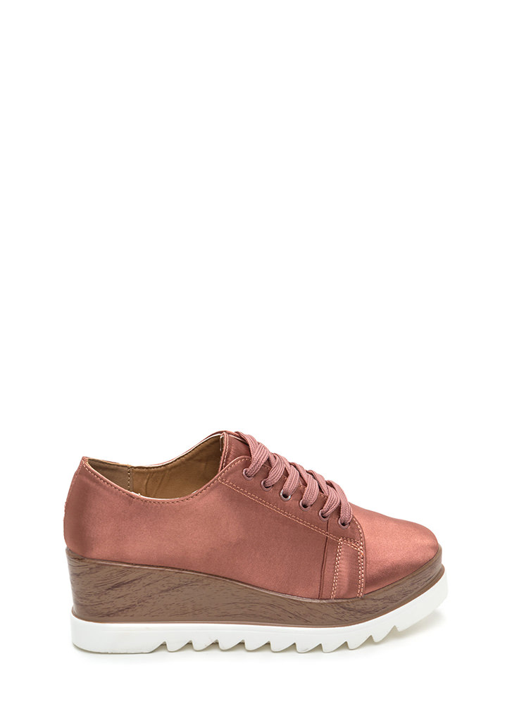 Satiny Smooth Platform Wedge Sneakers DKBLUSH