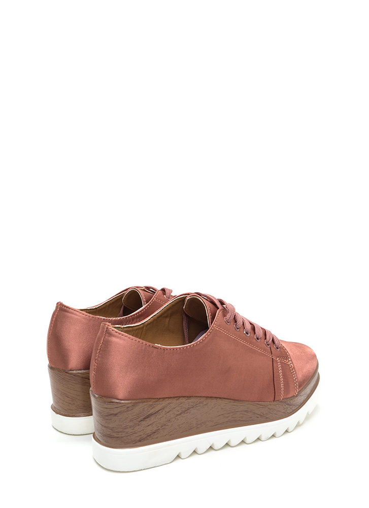 Satiny Smooth Platform Wedge Sneakers DKBLUSH (Final Sale)