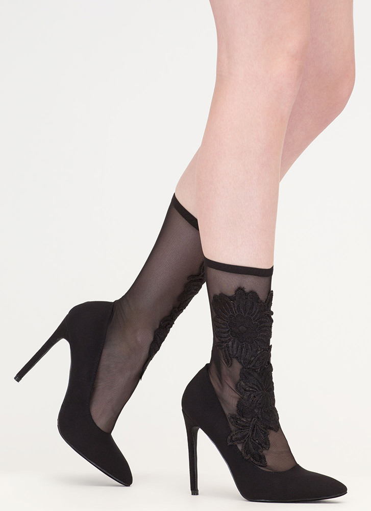 Flower Fix Sheer Pointy Sock Booties BLACK