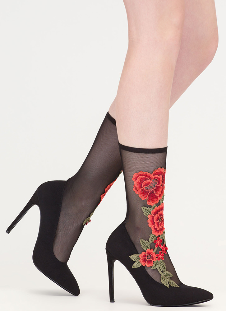 Sheer Beauty Pointy Floral Sock Booties MULTI