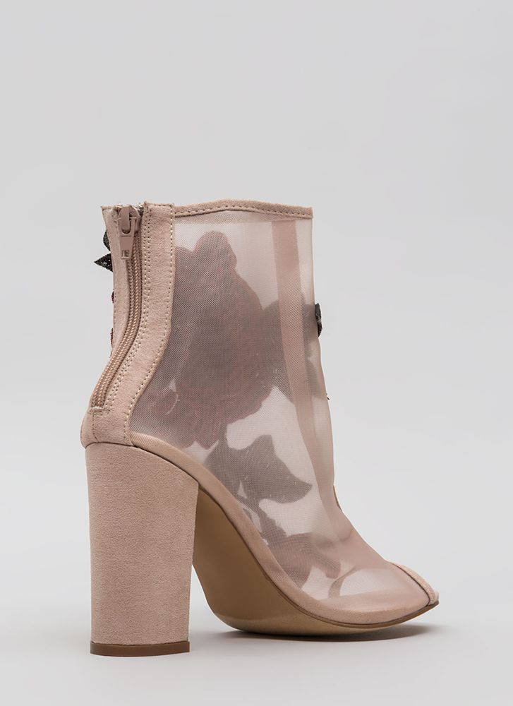 Floral Dimension Chunky Mesh Booties NUDE