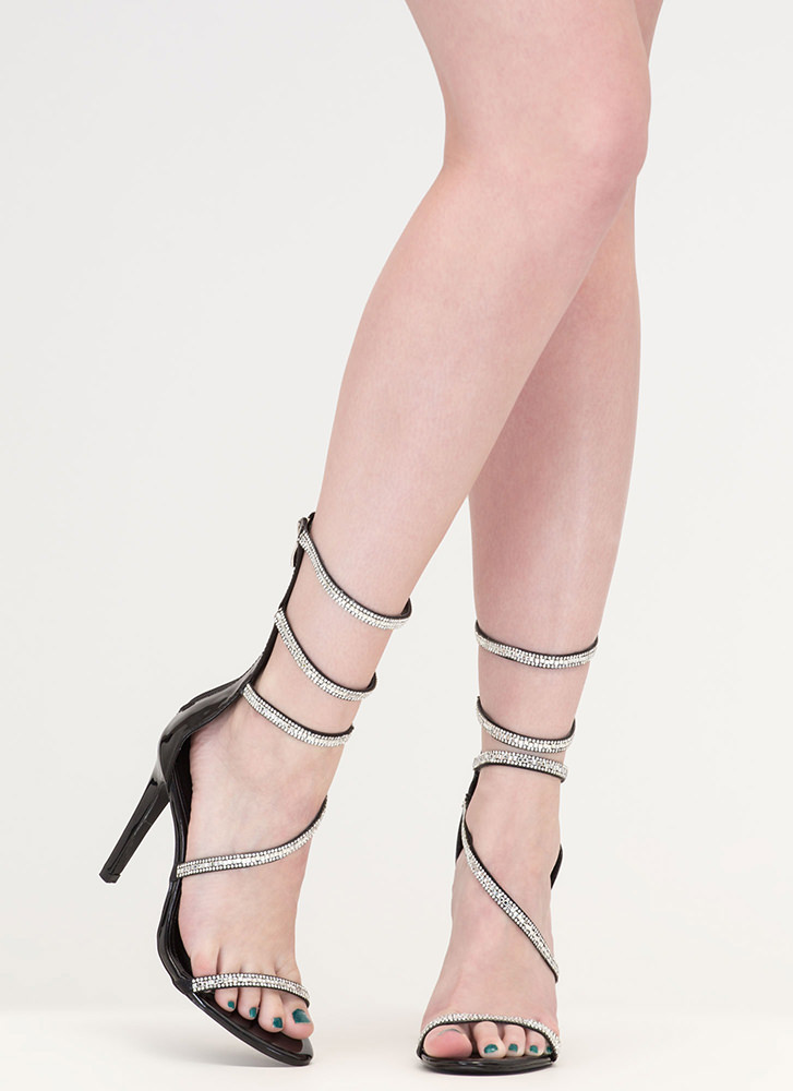 Strappy Life Jeweled Faux Leather Heels BLACK