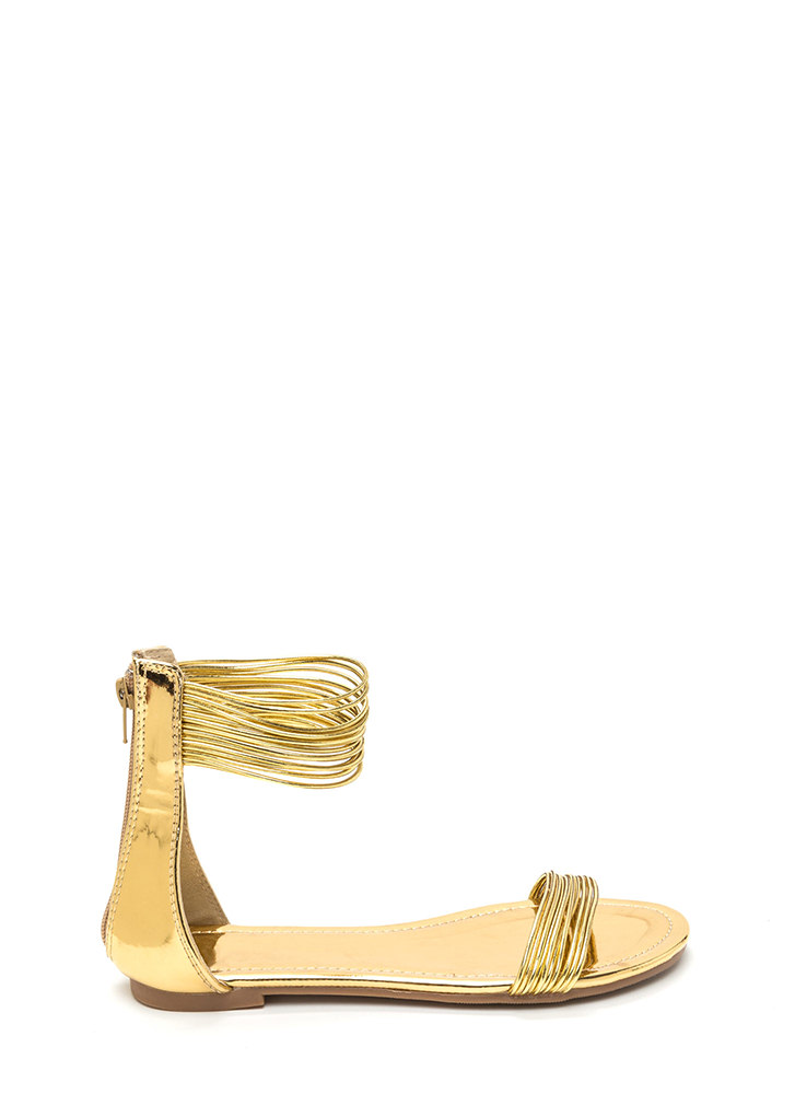 Power Cords Metallic Strap Sandals GOLD
