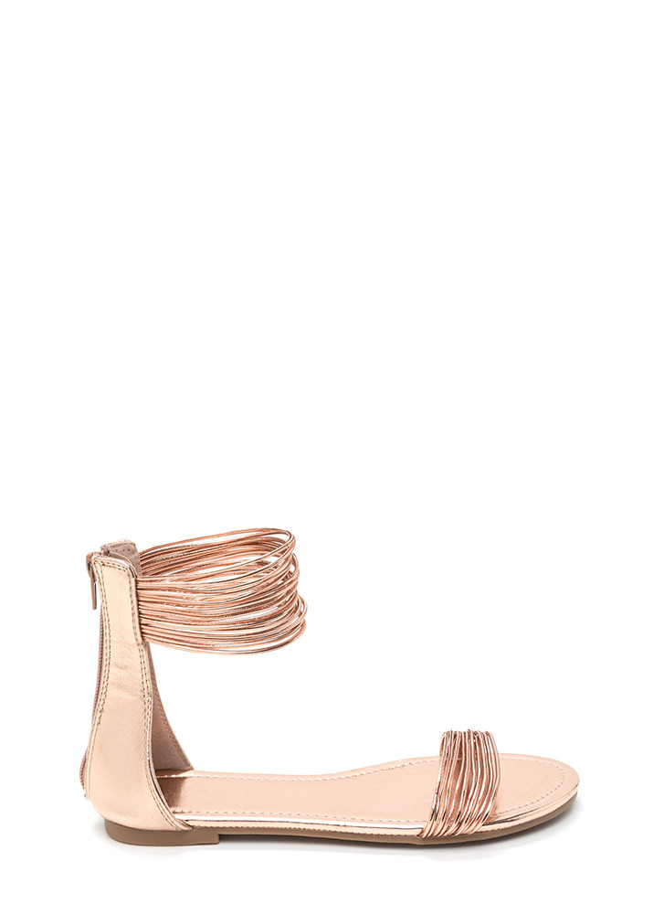 Power Cords Metallic Strap Sandals ROSEGOLD