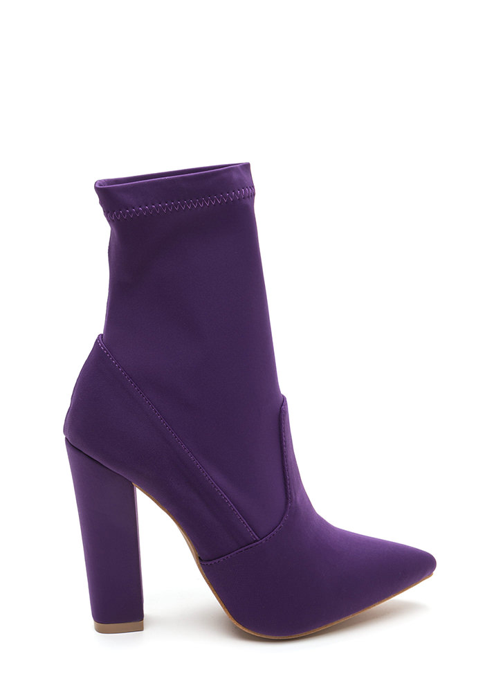 Chic In The City Pointy Booties PURPLE