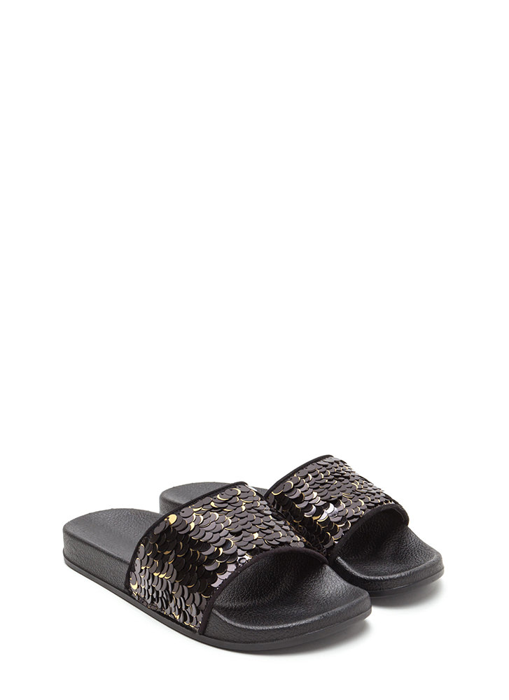 Tip The Scales Sequined Slide Sandals BLACK