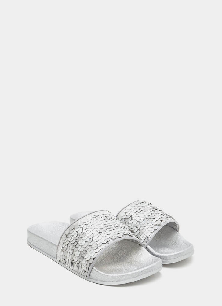 Tip The Scales Metallic Sequined Slides SILVER