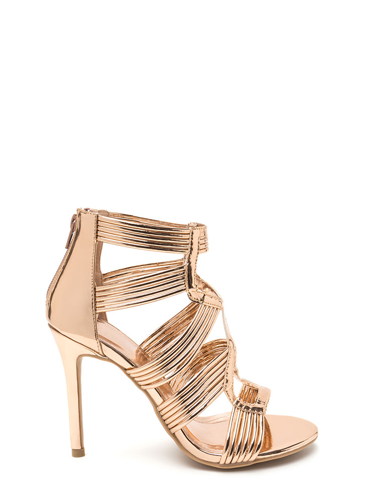 Night To Remember Strappy Metallic Heels ROSEGOLD