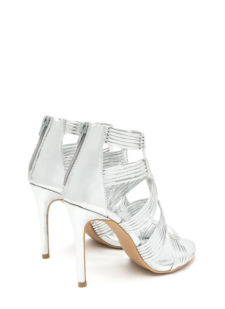 Night To Remember Strappy Metallic Heels SILVER