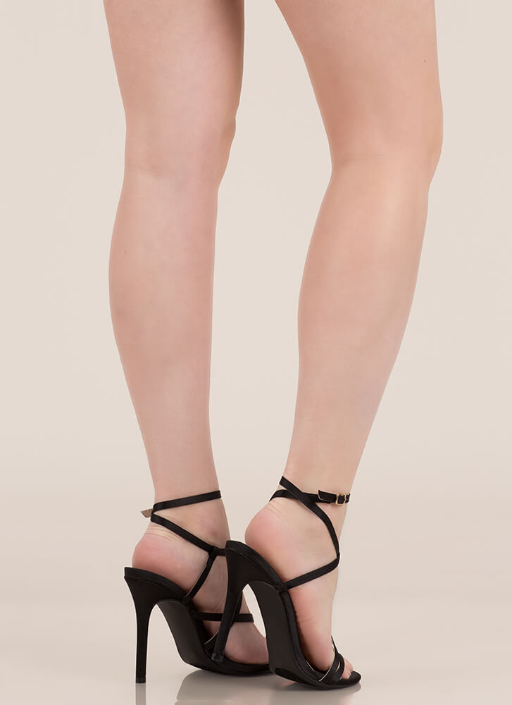 Strappy Happy Caged Satin Heels BLACK (Final Sale)